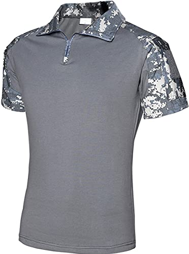 Memoryee Men's Military Tactical Army Combat Short Sleeve Shirt Slim Fit Camo T-Shirt with 1/4 Zipper and Pockets/ACU Camouflage/XL