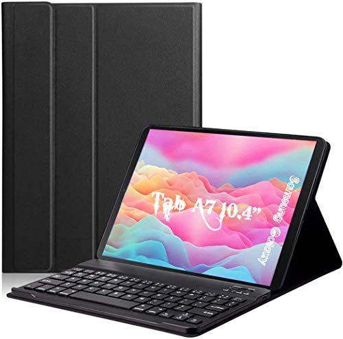 VABOO Funda con Teclado Español Ñ para Samsung Galaxy Tab A7 10.4'' 2020, Teclado Bluetooth Inalámbrico Extraíble Magnético para Samsung Galaxy Tab A7 10.4 T500/T505 2020,Negro