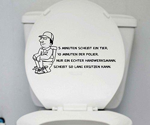 WC Deckel Aufkleber Handwerker Toiletten lustig Spruch Badezimmer Klo Bad 1K159, Farbe:Schwarz Matt