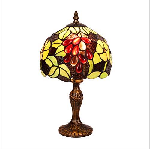 Tiffany style antique brassée effet base, jaune et rouge teinté verre et Pierre Design lampe de table