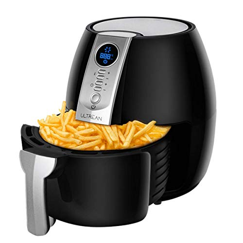 Ultrean Air Fryer, 4.2 Quart (4 Liter) Electric Hot Air Fryers Oven Oilless Cooker with LCD Digital Screen and Nonstick Frying Pot, ETL/UL Certified,1-Year Warranty,1500W (Black)