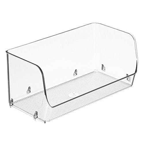 InterDesign Linus boite de rangement pour frigo, petit bac plastique pour aliments ou ustensiles, lot de 2 organiseur frigo empilables, transparent