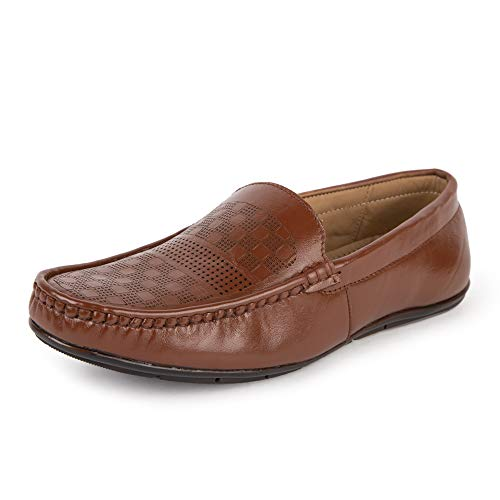 LOUIS STITCH Men Loafer Premium Handmade Genuine Leather Moccasins Loafers for Men (10, Cinnamon Brown)
