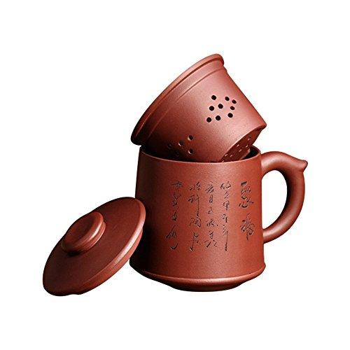 ufengke-ts Yixing Zi Sha Tazza da Tè con Colino da Tè, Coperchio e Parole Cinesi,Teiera in Ceramica Fatta A Mano,Tazza da Tè in Argilla Viola,21oz
