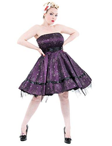 H & R London Abito Fiorito Silk Purple Purple 44