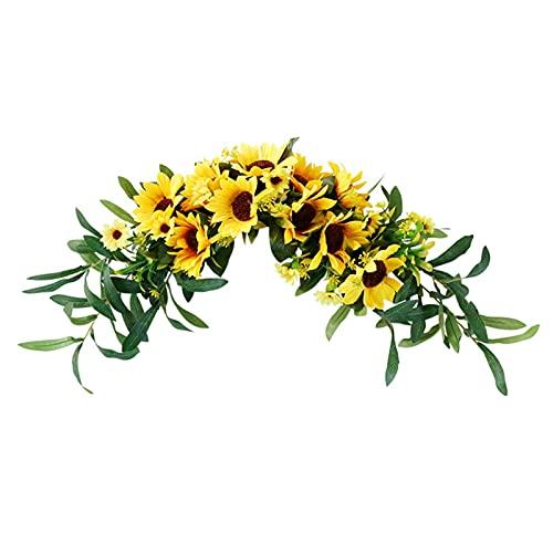 SJHQ Flor Preservada 1 unids Girasol Guirnalda Artificial Puerta umbral de umbral de Bricolaje Boda Fiesta casa Colgante decoración de Pared Flor Artificial (Color : Yellow)
