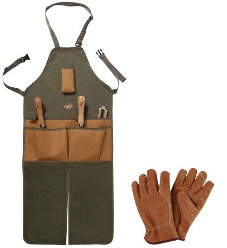 Esschert Design Set: Lange Gartenschürze mit Taschen, inklusive Gartenhandschuhe, Lederhandschuhe, Länge
