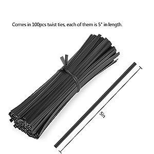 "Easytle 5"" Plastic Black Twist Ties/Twist Tie/Cable Ties/Cable Tie 100 Pcs"