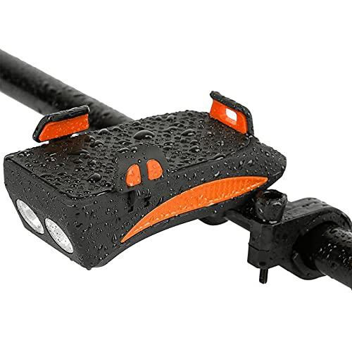 GOURIXIN Bicicleta Recargable Impermeable, 4 en 1 Luces Bicicleta Delantera y Recargable USB, Batería de 2000/4000mA Altavoz Soporte, para Carretera Montaña Cámping Noche Ciclismo Orange 4000mAh