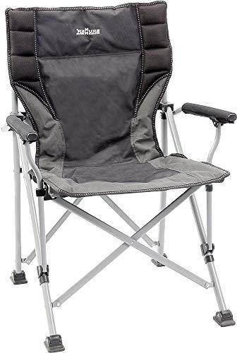 Acier anodisé chaise avec accoudoirs jusqu'à 120 kg, poids avec sac de transport-sTABIELO-wELLNESS-chaise pliable avec accoudoirs-couleur : gris-noir/poids : 4,5 kg, légèrement contre supplément avec holly eXKLUSIV fÄCHERSCHIRMEN et holly uNIVERSALGELENKHALTERUNG avec kratzfreien gUMMISCHUTZKAPPEN holly de fixation-sTABIELO iNOVATIONEN fabriqué en allemagne-holly-sunshade -