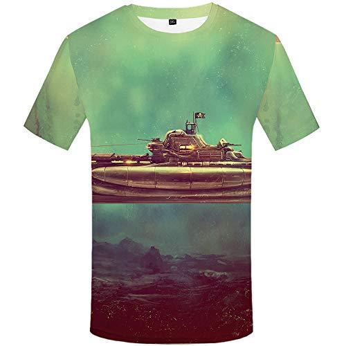 WHLTX T-Shirt sous-Marin Imprimé en 3D, Col Rond Élégant, Confort Décontracté Doux Manches Courtes@Vert Clair_XXXL