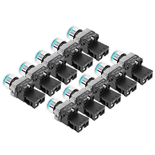 Jeanoko Botón de Interruptor de Encendido de 10 Piezas Interruptor de botón Normalmente Abierto XB2‑10DN para electrónica(220V)