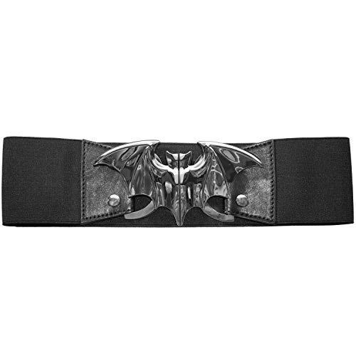 Kreepsville 666 Elastic Waist Belt Bat Silver Elastic Split Buckle Fastening, Black, Silver, Large/X-Large