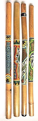 Didgeridoo 100 cm bemalt aus Bambus Holz Musik Instrument Dotpaint Handbemalt
