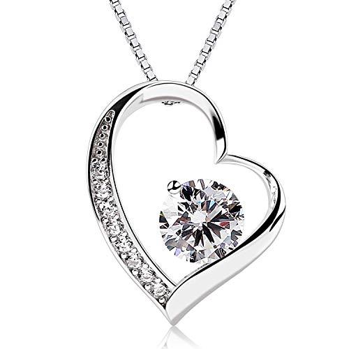Eeuwig liefde Dames halsketting hart hanger ketting halsketting met diamant gesneden zirkonia 925 sterling zilveren sieraden, cadeau voor hem