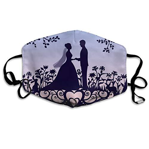 Houity stofdicht wasbaar, bruiloft romantische uitnodigingskaart met Silhouette, zacht, ademend, wasbaar, knop verstelbaar, geschikt voor mannen en vrouwen