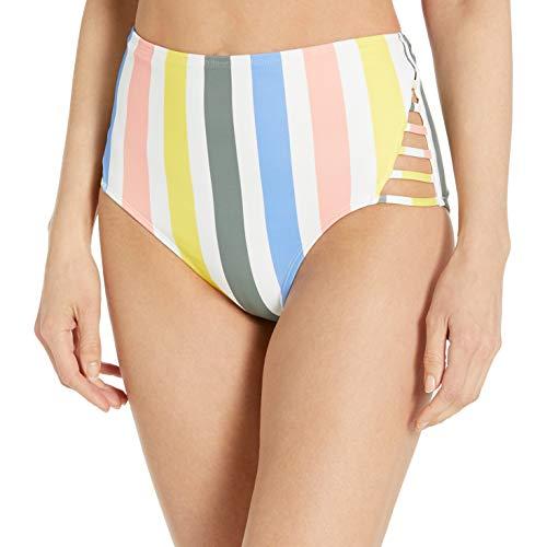 Amazon Brand - Mae Women's Swimwear Strappy High Waist Cheeky Bikini Bottom,Multi Stripe,Medium