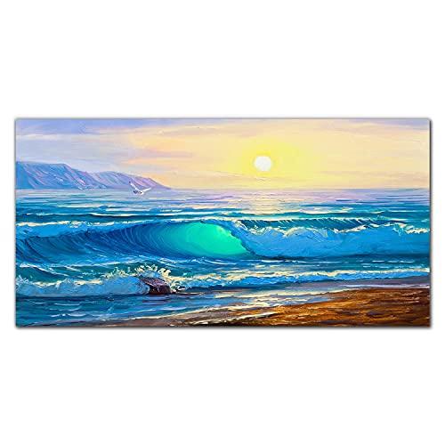 Coloray Pintura Vidrio Acrílico Acryl 120x60cm Mural Cocina Cuadro De Pared De Arte De Vidrio Sala De Estar - Las Olas Del Mar Paisaje