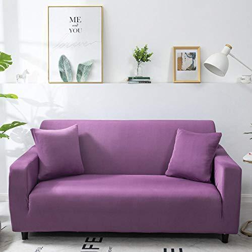 B/H poliéster y Elastano Funda sofá,Funda de sofá elástica de Color Puro, Funda de sofá de Tela Completa-púrpura_235-310cm,elástico elástico extraíble Cubierta
