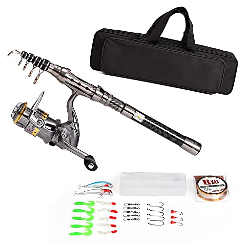 Telescopic Fishing Rod and Reel Combo Full Kit Spinning Fishing Reel Gear Organizer Pole Set with 100M Fishing Line Lures Hooks Jig Head and Fishing Carrier Bag Case Fishing Accessories
