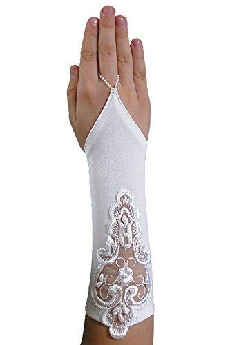 YES Schicke Fingerlose Kommunionhandschuhe Handschuhe zur Kommunion, Spitze, Perlen, Mädchen KA-41