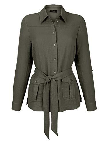 Paola Damen Blusenjacke mit Hemdkragen in Khaki aus Viskose mit Bindegürtel