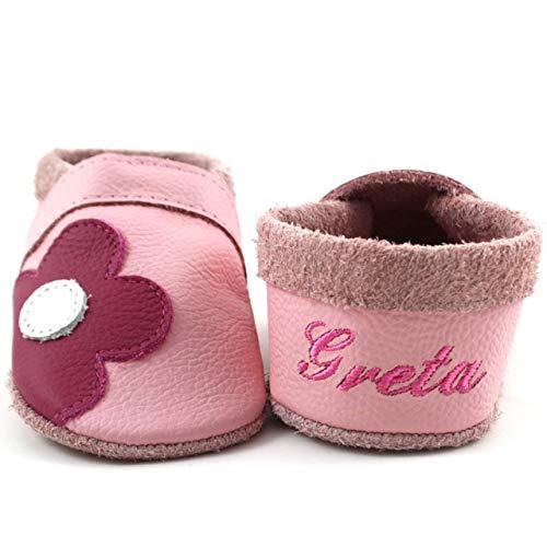 Krabbelschuhe Babyschuhe Lauflernschuhe mit Namensstickerei Blume weiches Leder rosa