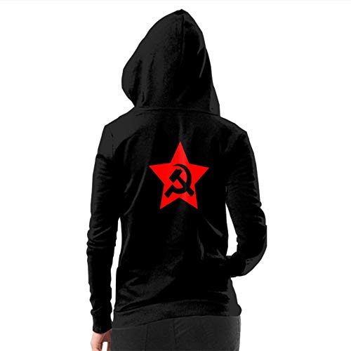 URTEOM Women's Fashion Hoodies & Sweatshirts Long Sleeve Lightweight Thin Drawstring Sweatshirt Coat Winter Hoodies with 2 Split Pocket Hammer Sickle in Star Small