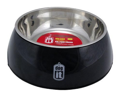 Dogit 2-in-1 Durable Dog Bowl, Food and Water Bowl for Dogs with Removable Stainless Steel Insert for Easy Cleaning, Large, Pink