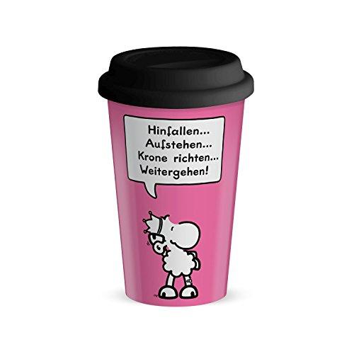 Die Geschenkewelt 44421 Becher mit sheepworld Motiv Hinfallen, Aufstehen, Krone richten, Porzellan, 45 cl, mit Silikon-Deckel, rosa, schwarz