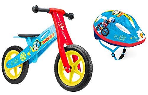 Mickey Kinder Laufrad Holzlaufrad Kinderfahrrad Bike 12-Zoll-Räder Eva ab 2 Jahren Jungen Mädchen Lernlaufrad + Kinderhelm Fahrradhelm Bike 52-56 cm