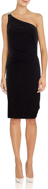 Ralph Lauren Womens Black Embellished Sleeveless Asymmetrical Neckline Below The Knee Body Con Cocktail Dress Size 8