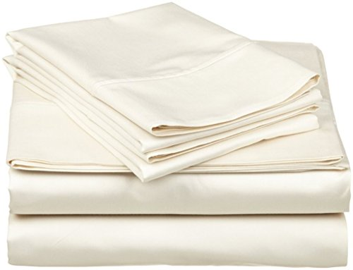 Rajlinen Ultra Soft Cozy 100% Percale Cotton 4 PCs Bed Sheet Set - 400 Thread Count 15 inch Deep Pocket - Extremely Smooth Stronger Durable Quality Bedding (Ivory Solid,Full-XL)