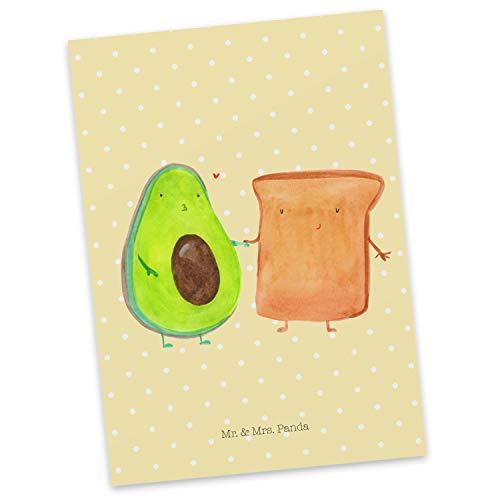 Mr. & Mrs. Panda invito, Biglietto d'auguri, Cartolina Postale Avocado + Brindisi - Colore Pastello Giallo