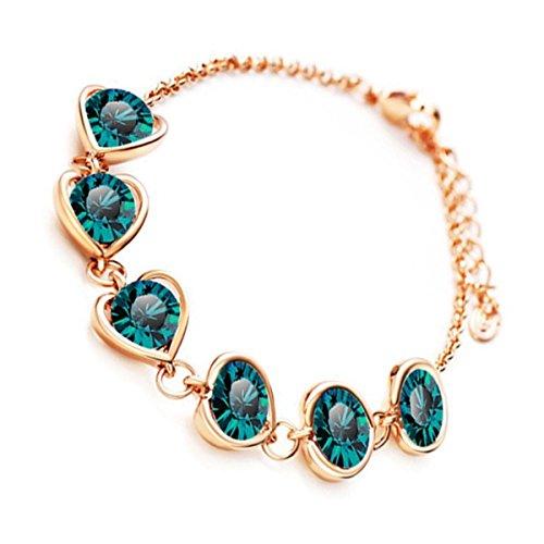 GWG Jewellery Bracciali da Donna Regalo Braccialetto Catenella Placcato Oro 18K Cuore d'Amore con Cristallo Verde Smeraldo Taglio Tondo per Donne