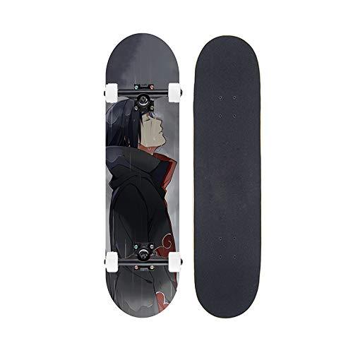 FWTL Skateboard, Ahorn Skateboard für Anfänger, Anime Naruto: Uchiha Itachi Skateboard, voll doppelt geneigtes professionelles Skateboard, geeignet für Erwachsene Jungen und Mädchen 31