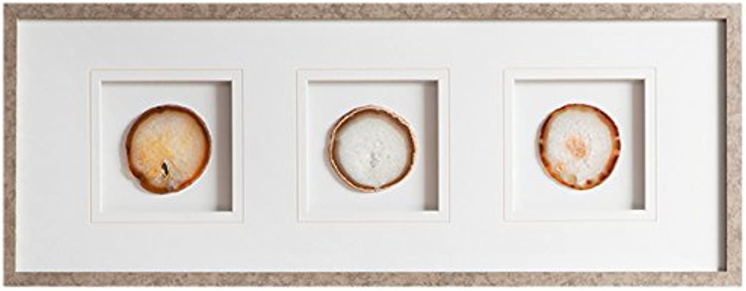 Madison Park Natural Agate Trio Framed Canvas Wall Art 34X13, Global Inspired Wall Décor