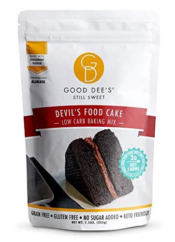 Good Dee's Devil Food Cake Mix   Low Carb Keto Sugar Free Cake Mix (2g Net Carbs, Per Serving), Grain-Free, Gluten-Free & Sugar Free Cake Mixes for Diabetics, Atkins & Weight Watchers