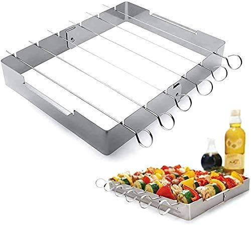 WENTS BBQ Kebab Rack Grill Rib Skewers Stainless Steel Durable and Reusable Non-Stick Shish Kebab Skewer Set