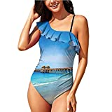 Hitecera Naples Pier and Beach in Florida USA Sunny Day,Women's Ruffled Back One Piece Swimsuit L