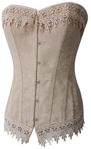 Alivila.Y Fashion Womens Sexy Vintage 1920s Renaissance Lace Trim Corset Bustier 2606-Cream-L