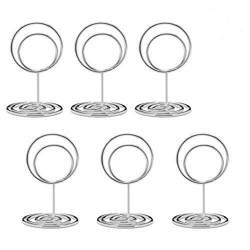 Jofefe 20pcs Mini Place Card Holders  Cute Table Number Holders  Classy Table Card Holder Table Picture Stands  Elegant Wire Photo Holder Menu Memo Clips  Idea for Wedding  Anniversary Party (Silver)