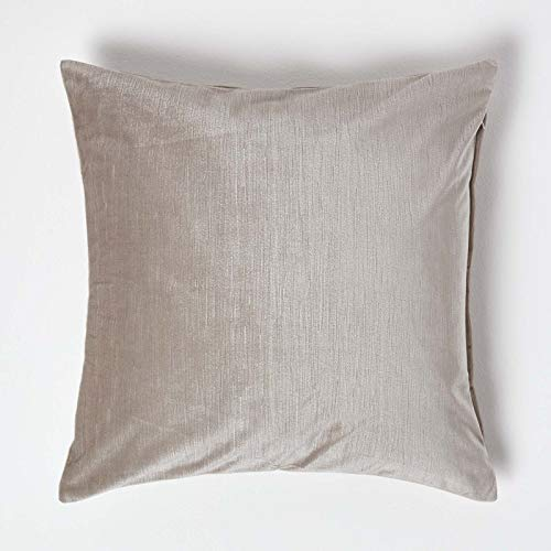 HOMESCAPES Champagne Velvet Cushion Cover 18 x 18 Inch (45 cm) Square Natural/Cream Scatter Cushion for Sofa or Bed