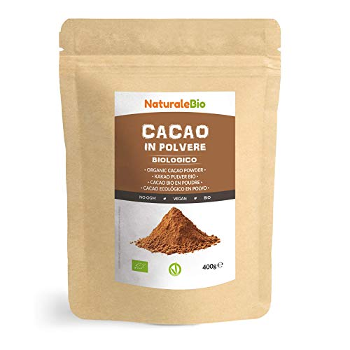 Kakao Pulver Bio 400 g. Organic Cacao Powder. 100% Natürlich, Rein aus de Roh Kakaobohnen. Produziert in Peru aus der Theobroma Cocoa Pflanze. Magnesium, Phosphor und Zink-Quelle. NaturaleBio