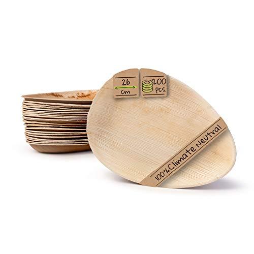 BIOZOYG Palmware Platos de Hojas de Palma I 200 Piezas de ojas de Palma Forma de Gota 26 cm I Bio vajilla desechable Boda compostable Biodegradable Vajilla de Fiesta