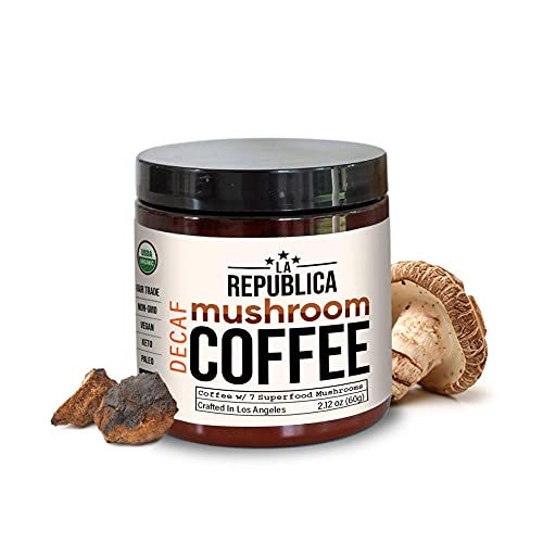 La Republica Organic Decaf Mushroom Coffee with 7 Superfood Mushrooms, Great Tasting Instant Coffee Mix Includes Lion's Mane, Reishi, Chaga, Cordyceps, Shiitake, Maitake, and Turkey Tail (Regular)