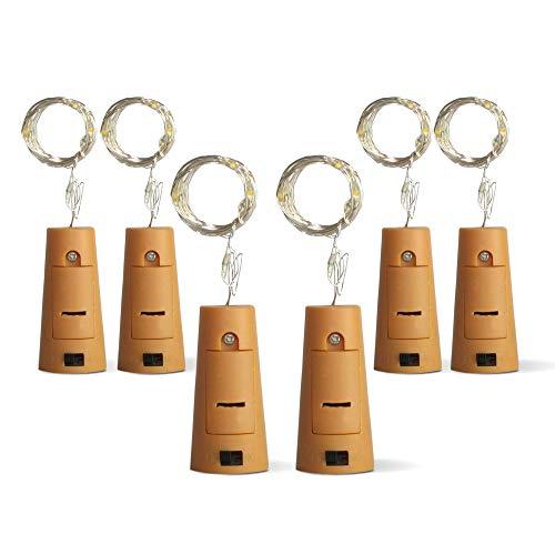 6er Set LED Flaschenlichter Lichterkette mit Flaschenkorken für Flaschen Deko für Party, Garten, Weihnachten, Hochzeit