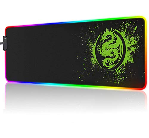 Large RGB Gaming Mouse Pad - 15 Light Modes Extended Computer Keyboard Mat, Anime Dragon Mouse Pad,High-Performance Mouse Pad Optimized for Gamer 31.5 X 12in (Green)