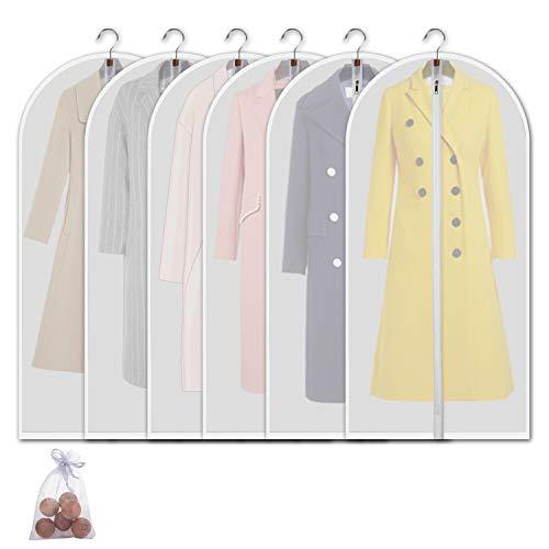 6pcs Clothes Garment Dust-proof Cover Suit Coat Hanging Storage Bag Protector