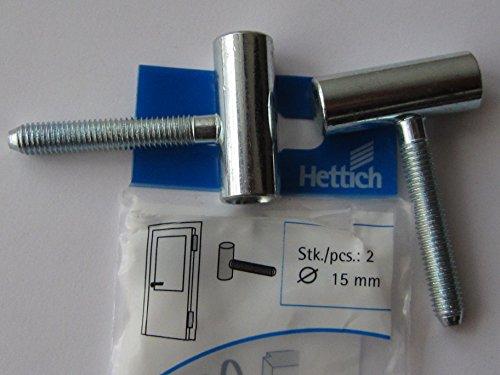 HETTICH Türbandoberteil / Rahmenoberteil mit Gewindezapfen 15 x 40 mm, für Holzzargen und Stahlzargen, Stahl verzinkt, 2 Stück, 62397